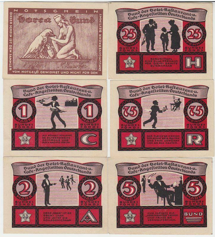 6 Banknoten Notgeld Lübeck Horca Bund um 1921