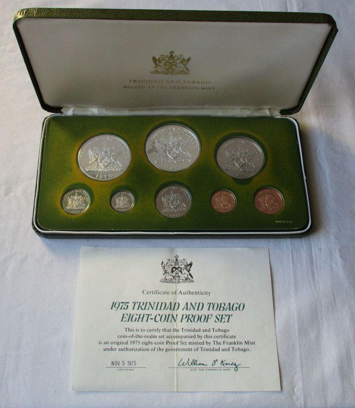 Kursmünzensatz KMS Trinidad und Tobago 1975 + Zertifikat COA + Etui (129737)