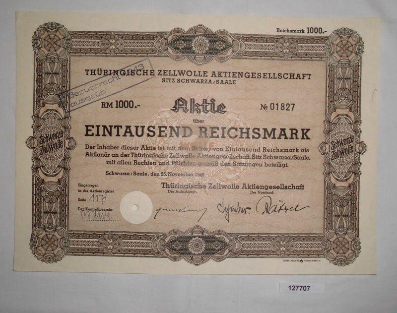 1000 RM Aktie Thüringische Zellwolle AG Schwarza (Saale) 25. Nov. 1940 (127707)