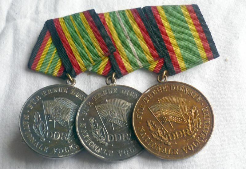 Ordensspange mit 3 DDR Medaille NVA für treue Dienste