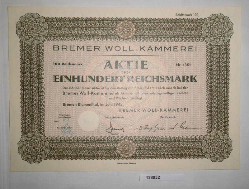 100 RM Aktie Bremer Woll-Kämmerei Bremen-Blumenthal Juni 1942 (128932)