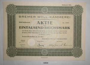 1000 RM Aktie Bremer Woll-Kämmerei Bremen-Blumenthal Juni 1942 (128929)