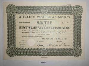1000 RM Aktie Bremer Woll-Kämmerei Bremen-Blumenthal Juni 1942 (128931)