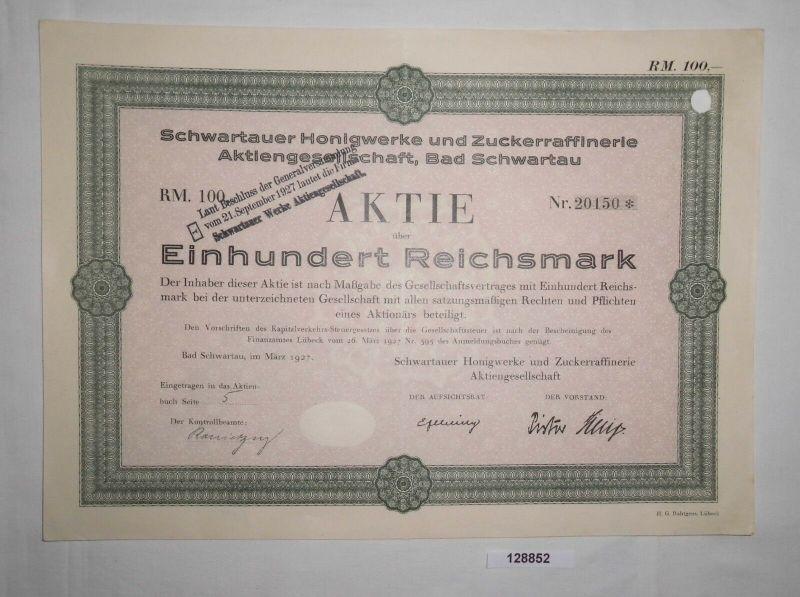 100 Reichsmark Aktie Schwartauer Honigwerke & Zuckerraffinerie AG 1927 (128852)