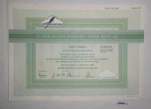 50 DM Zehn Aktien Schwälbchen Molkerei Jakob Berz AG Bad Schwalbach 1988 /128860