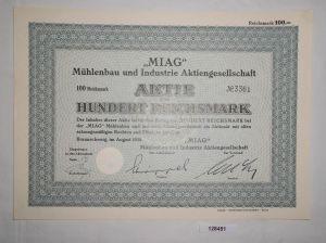 100 RM Aktie MIAG Mühlenbau & Industrie AG Braunschweig August 1938 (128451)