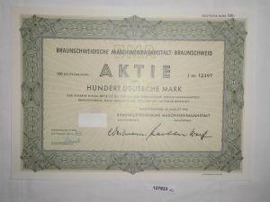 100 Mark Aktie Braunschweigische Maschinenbauanstalt August 1961 (127833)