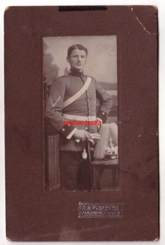 66996 Kabinettfoto Karlsruhe Soldat mit Pickelhaube Baden