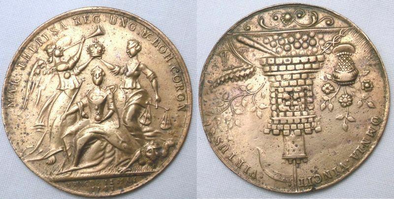 Alte Medaille auf die Krönung von Maria Theresia in Prag 12. May 1743 (105630)