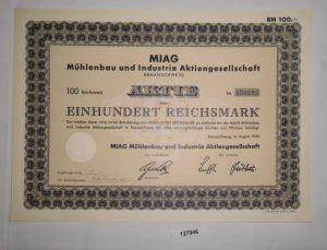 100 RM Aktie MIAG Mühlenbau & Industrie AG Braunschweig August 1932 (127946)