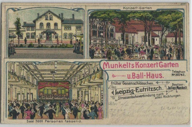 92362 Ak Lithographie Leipzig Eutritzsch Munkelts Konzert Garten 1918