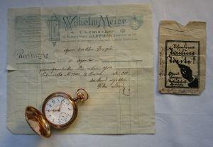 Schöne Taschenuhr Uhrenfabrik Union Glashütte 585er Gold um 1900 (129775)
