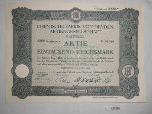 1000 RM Aktie Chemische Fabrik von Heyden AG Radebeul 1. März 1929 (127550)