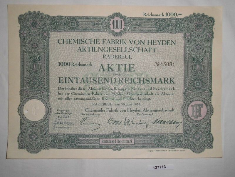 1000 RM Aktie Chemische Fabrik von Heyden AG Radebeul 30. Juni 1942 (127713)