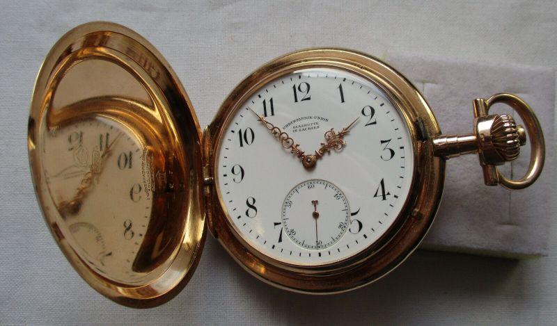 Schöne Taschenuhr Uhrenfabrik Union Glashütte 585er Gold um 1900 (129756)