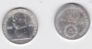 DDR Gedenk Silber Münze 10 Mark Gerhard J.D. v. Scharnhorst 1980 Stgl. (128729)