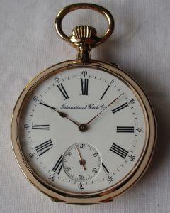 Elegante Herren Taschenuhr IWC International Watch C. Schaffhausen 750er Gold