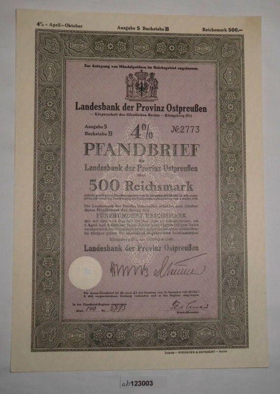 500 RM Pfandbrief Landesbank Provinz Ostpreußen Königsberg 1. Okt. 1940 (123003)