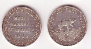 1 Ausbeutetaler Silber Münze Anhalt Bernburg Segen des Bergbau 1855 A (105031)