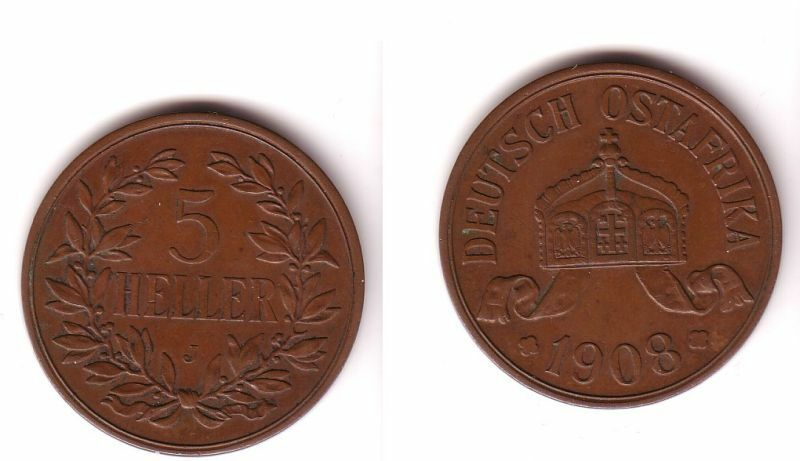 5 Heller Kupfer Münze Deutsch Ost Afrika 1908 J