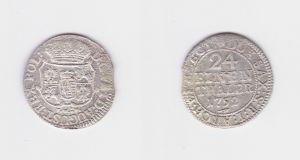 1/24 Taler Silber Münze Kurfürstentum Sachsen Friedrich August II. 1752 (127349)