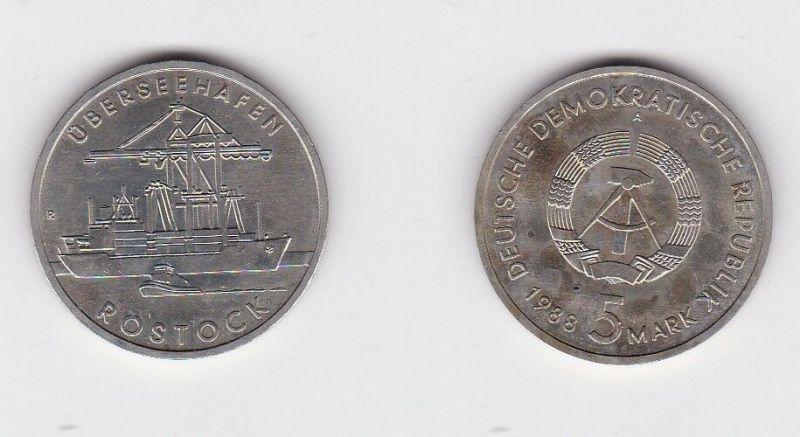 DDR Gedenk Münze 5 Mark Überseehafen Rostock 1988 (128677)