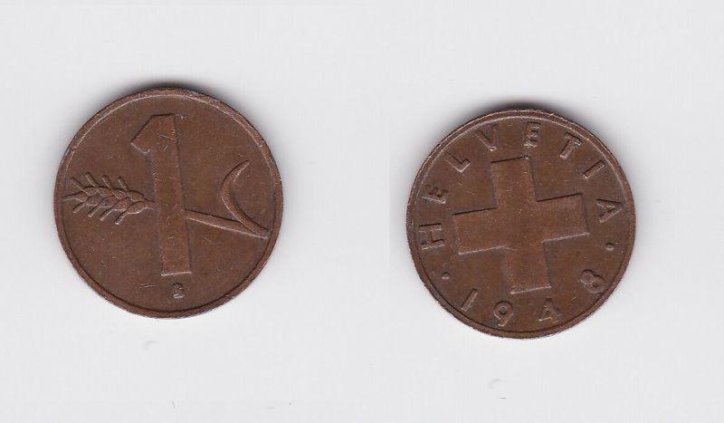 1 Rappen Kupfer Münze Schweiz 1948 B (118048)
