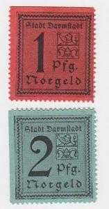 1und 2 Pfennig Banknoten Notgeld Stadt Darmstadt um 1921 (117284)