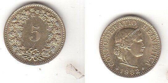 5 Rappen Messing Münze Schweiz 1982 (114236)