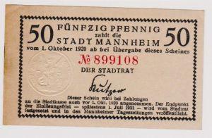 50 Pfennig Banknote Notgeld Stadt Mannheim 1.10.1920 (120599)