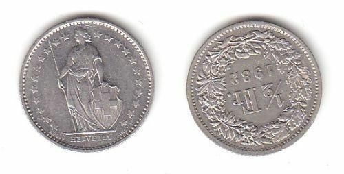 1/2 Franken Nickel Münze Schweiz 1982 (114089)
