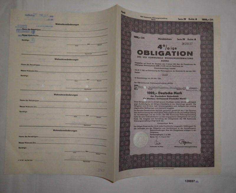 1000 Mark Obligation VEB kommunale Wohnungsverwaltung Borna 12.Aug 1961 (128697)