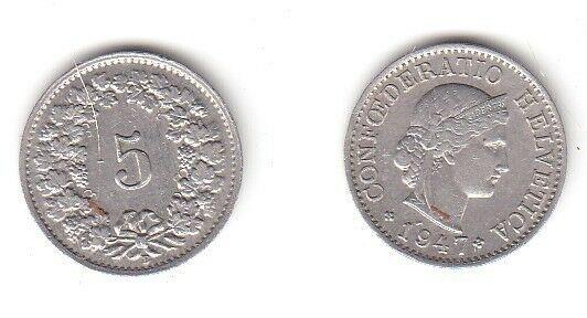 5 Rappen Nickel Münze Schweiz 1947 B (114592)