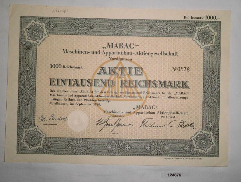 1000 RM Aktie MABAG Maschinen- & Apparatebau AG Nordhausen Sept. 1940 (124876)