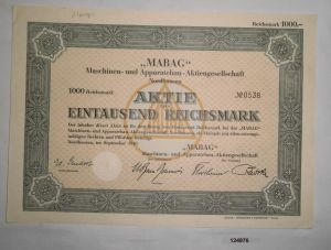 1000 RM Aktie MABAG Maschinen- & Apparatebau AG Nordhausen Sept. 1940 (124876)
