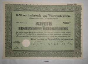 100 RM Aktie Kötitzer Ledertuch- & Wachstuch-Werke AG Coswig Juli 1942 (128800)