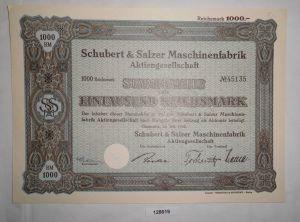 1000 RM Aktie Schubert & Salzer Maschinenfabrik AG Chemnitz Juli 1942 (128619)