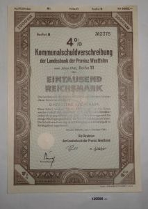 1000 RM Schuldverschr. Landesbank Provinz Westfalen Münster 1.Okt. 1941 (126898)