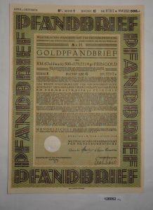 500 RM Pfandbrief Westfälisches Pfandbriefamt für Hausgrundstücke 1928 (128062)