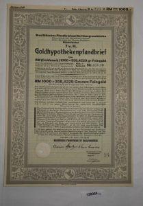 1000 RM Pfandbrief Westfälisches Pfandbriefamt für Hausgrundstücke 1926 (128059)