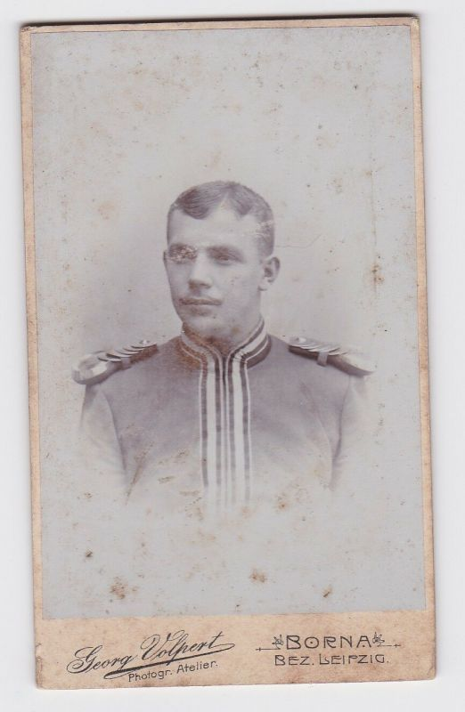81298 Kabinett Foto Karabinier Borna mit Epauletten um 1915