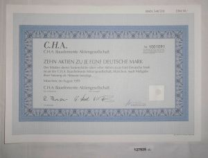 5 Mark zehn Aktien C.H.A. Bauelemente AG München August 1995 (127925)