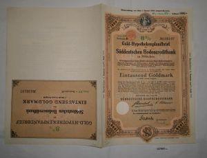 1000 Goldmark Pfandbrief Süddeutsche Bodencreditbank München 1.6.1930 (127957)