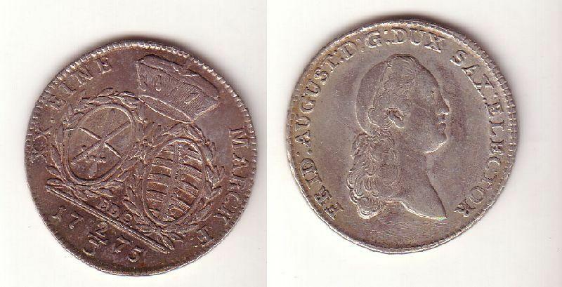 2/3 Taler Silber Münze Sachsen Friedrich August III. 1775 E.D.C. 1775 ss+