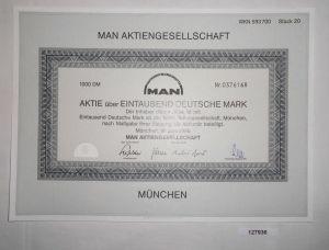 1000 Deutsche Mark Aktie MAN AG München Juni 1986 (127936)