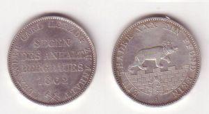 1 Ausbeutetaler Silber Münze Anhalt Bernburg Segen des Bergbau 1862 A (104849)