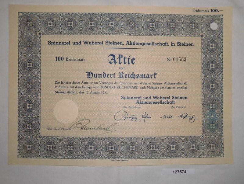 100 RM Aktie Spinnerei & Weberei Steinen AG 17. August 1932 (127574)