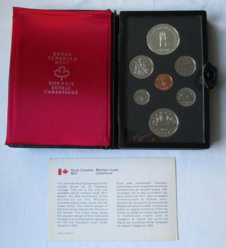 Kursmünzensatz KMS Kanada 1977 Thron + Zertifikat + Etui (129261)