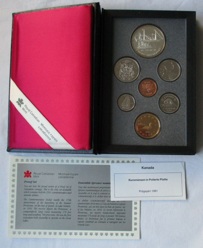 Kursmünzensatz KMS Kanada 1991 Dampfer Frontenac + Zertifikat + Etui (129735)