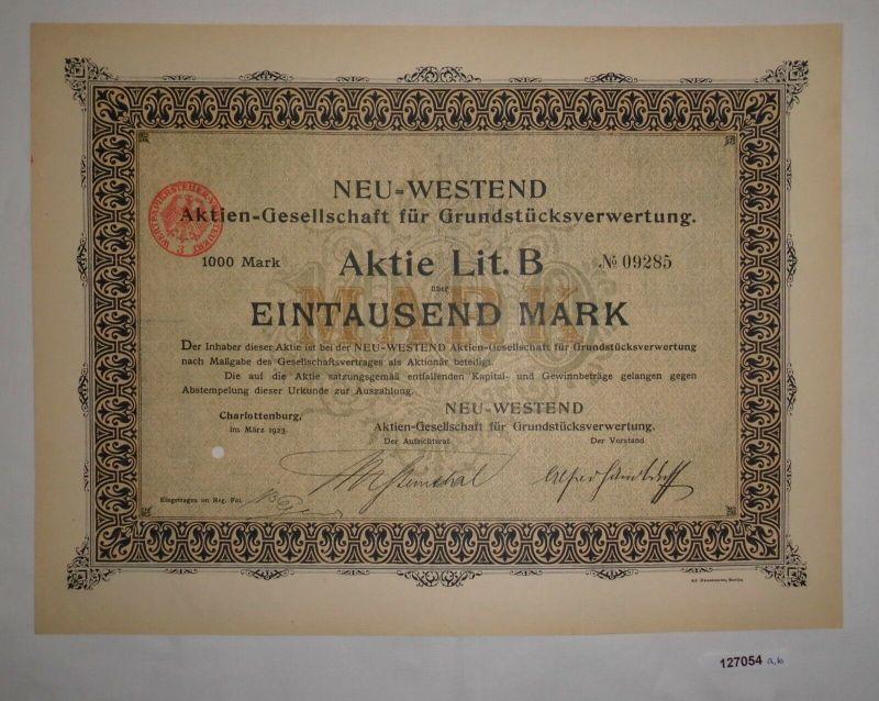 1000 Mark Aktie Neu-Westend AG für Grundstücksverwertung Charlottenburg (127054)